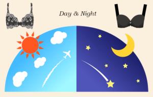 昼と夜のブラジャーの使い分け(イメージ)