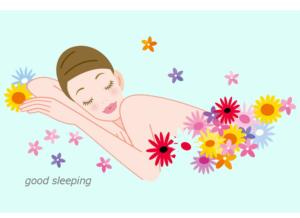気持ちよく眠っている女性のイラスト