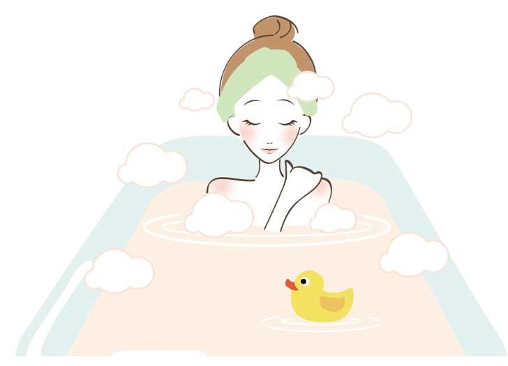 お風呂で体を温める女性のイラスト