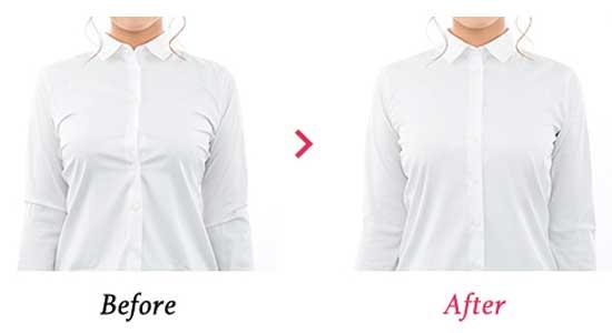 胸を小さく見せるブラの効果・シャツを着たボタンの閉じ方画像