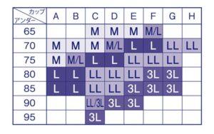 Wacol(ワコール)ナイトアップブラ・サイズ表