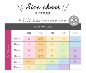 Viage(ヴィアージュ)ナイトブラ・新サイズ表