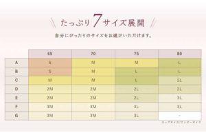 ルルクシェルくつろぎ育乳ブラ・サイズ表