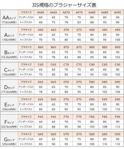 JIS規格のブラジャーサイズ表