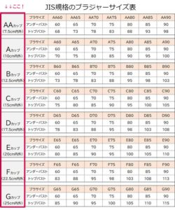 JIS規格のブラジャーサイズ表1