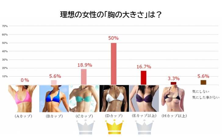 男子の好きなバストアンケート(大きさ)グラフ